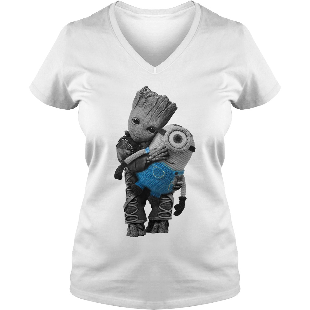 Baby Groot hugging Minion V-neck T-shirt
