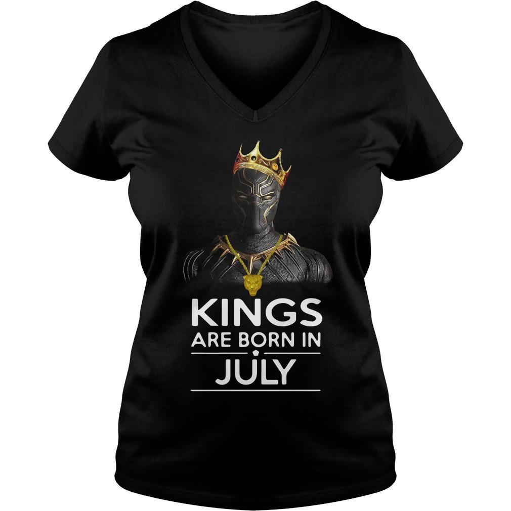 Black Panther Kings Born July V Neck T Shirt