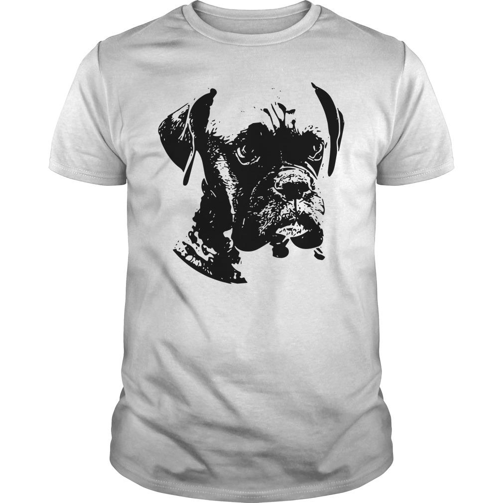 Boxer dog black and white Guys Shirt