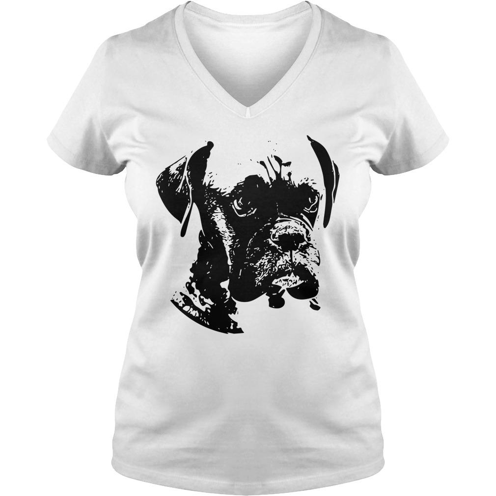 Boxer dog black and white V-neck T-shirt