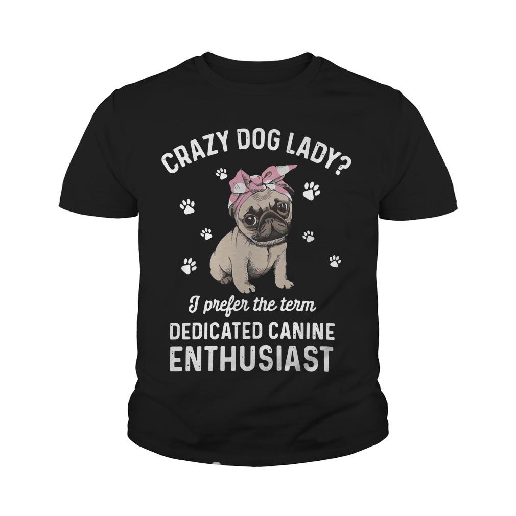 Bulldog Crazy Dog Lady Prefer Term Dedicated Canine Enthusiast Youth Tee