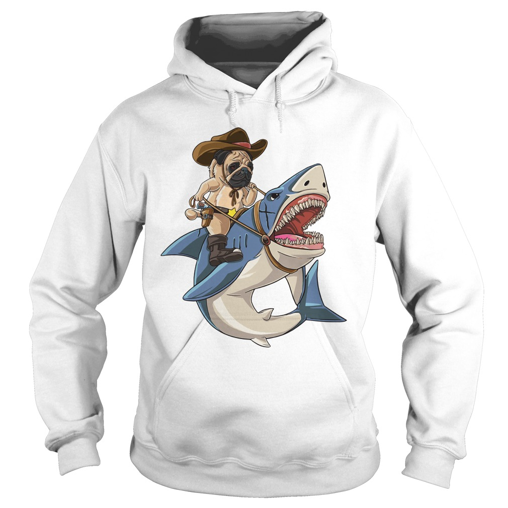 Bulldog riding shark Hoodie
