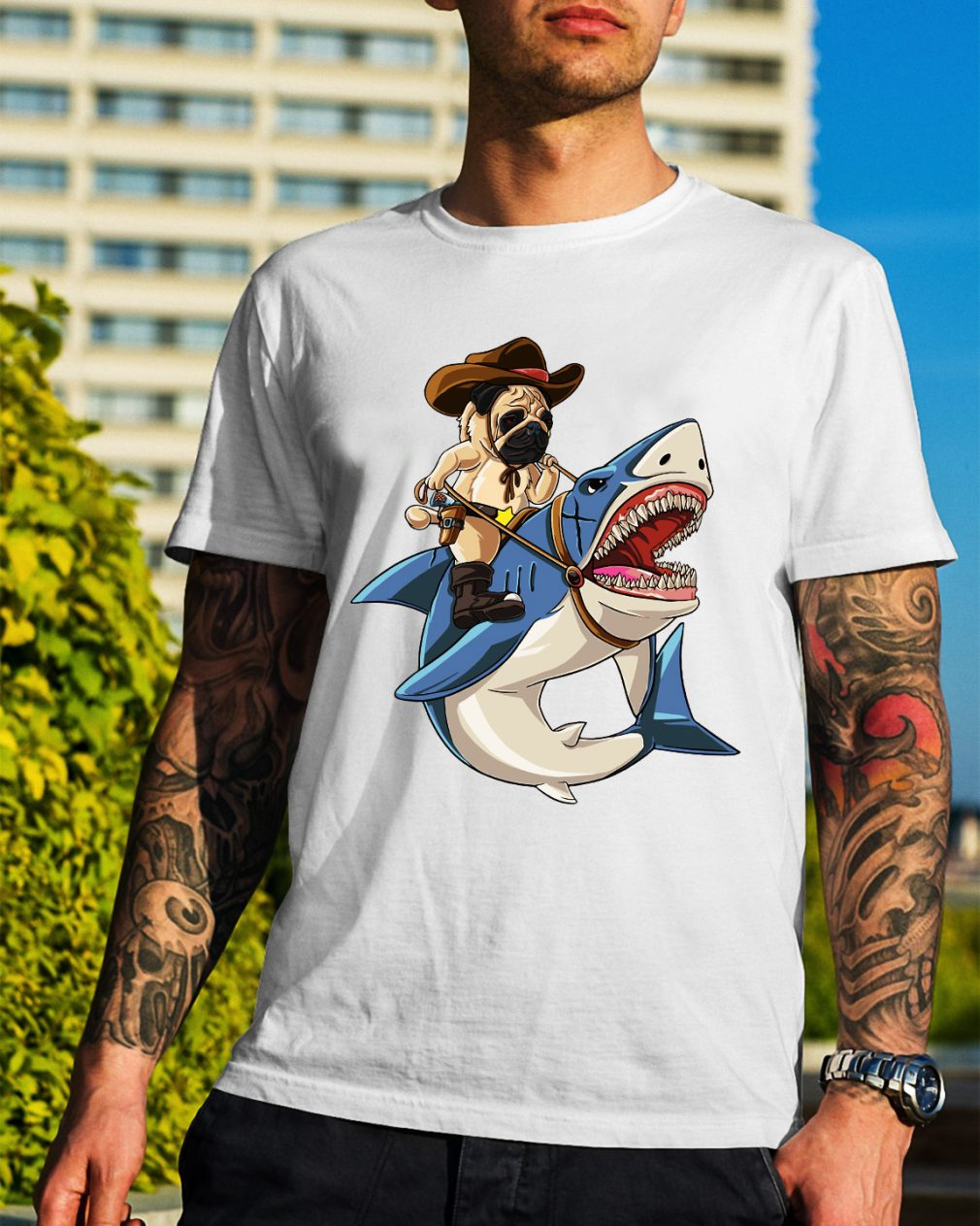 Bulldog riding shark shirt