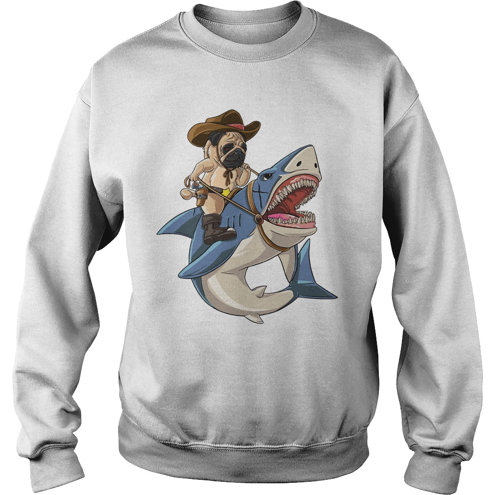 Bulldog riding shark Sweater