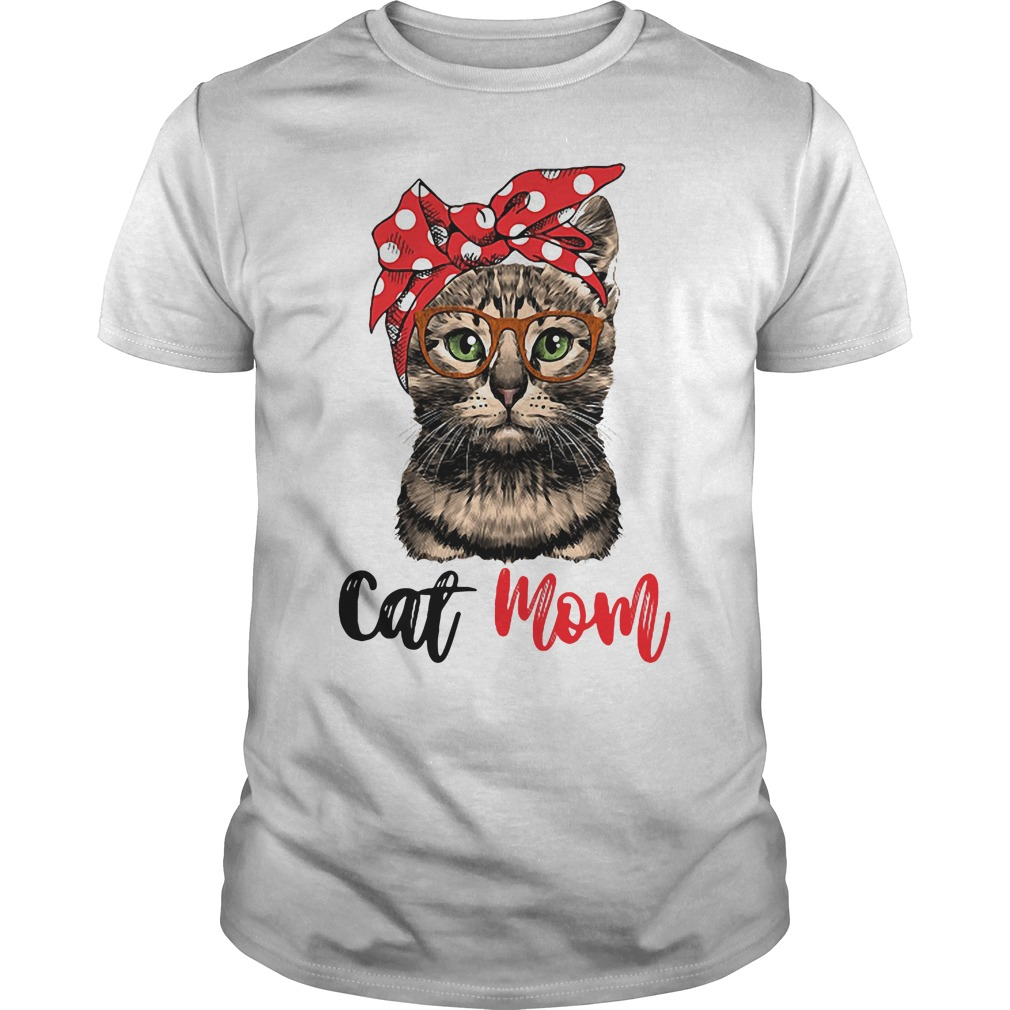 Cat Mom Cat Bow Head Scarf Guys Shirt