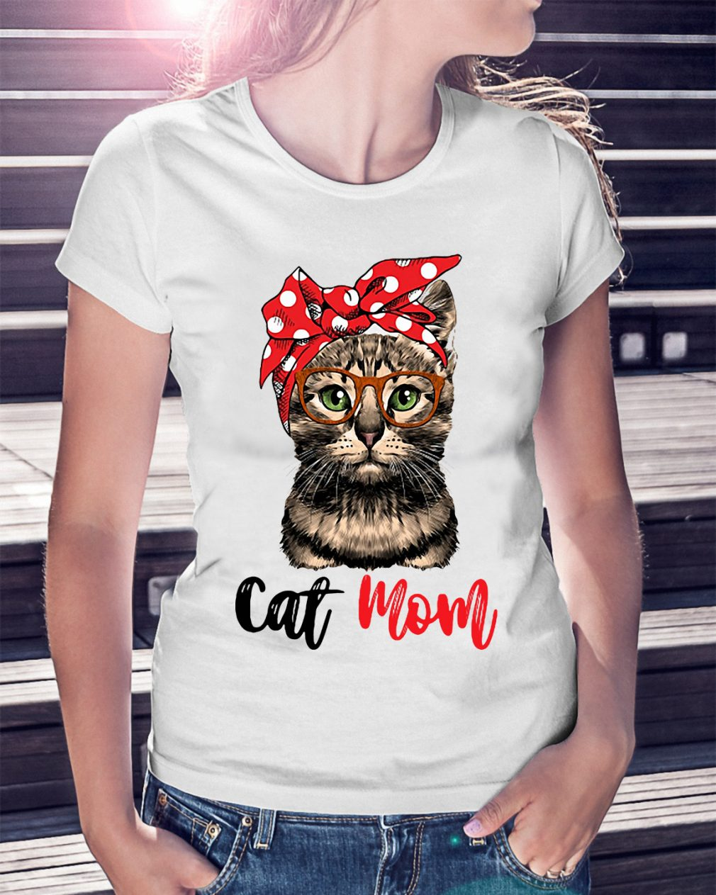 Cat Mom Cat Bow Head Scarf Shirt