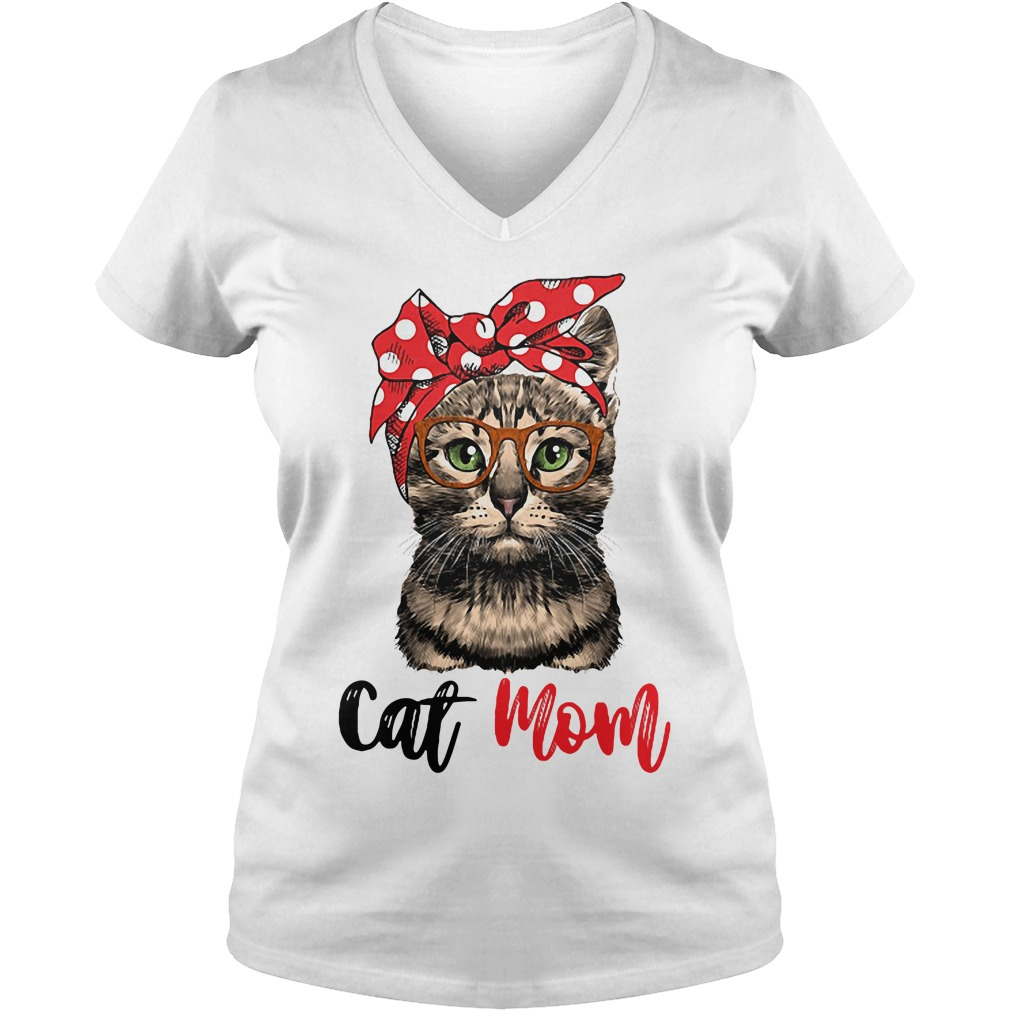 Cat Mom Cat Bow Head Scarf V Neck T Shirt