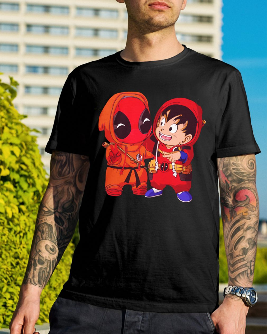 Deadpool and Goku kid shirt