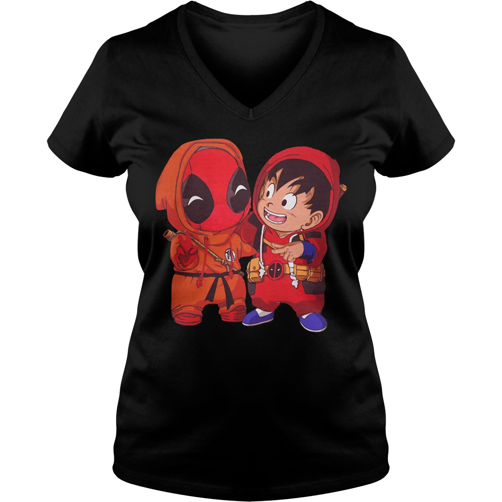 Deadpool and Goku kid V-neck T-shirt