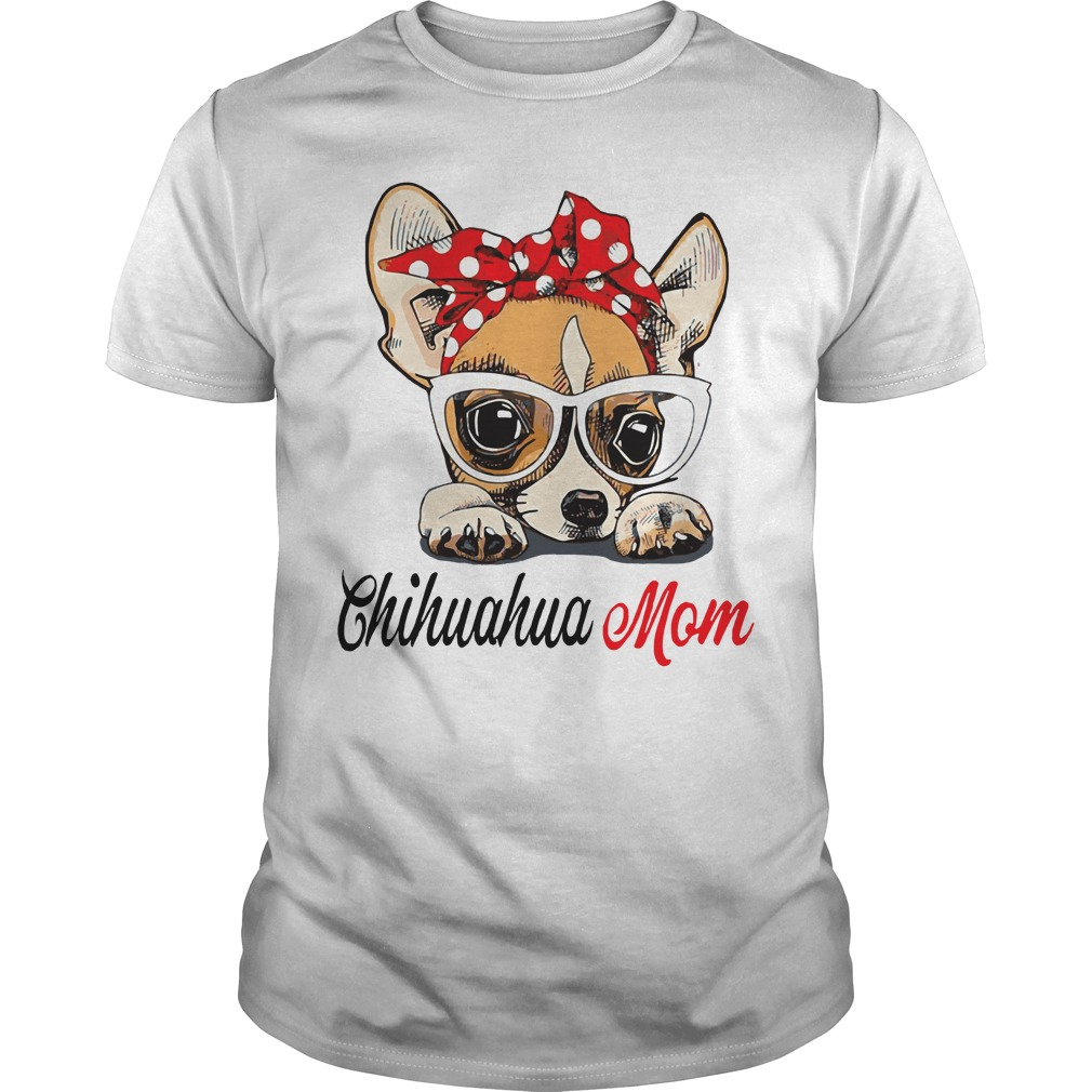 Dog Mom Chihuahua Mom Bow Head Scarf Guys Shirt