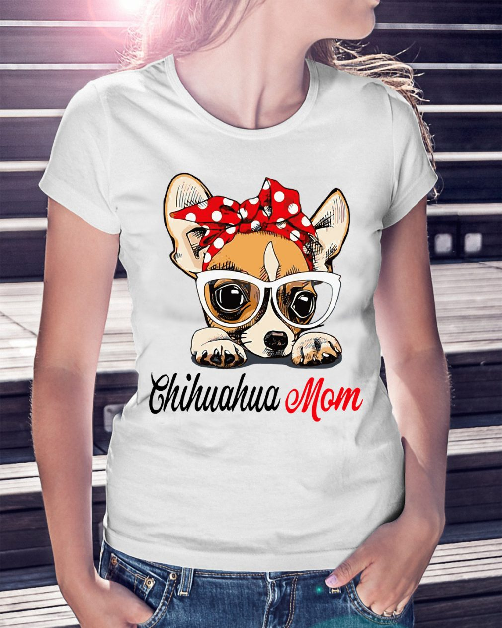 Dog Mom Chihuahua Mom Bow Head Scarf Shirt