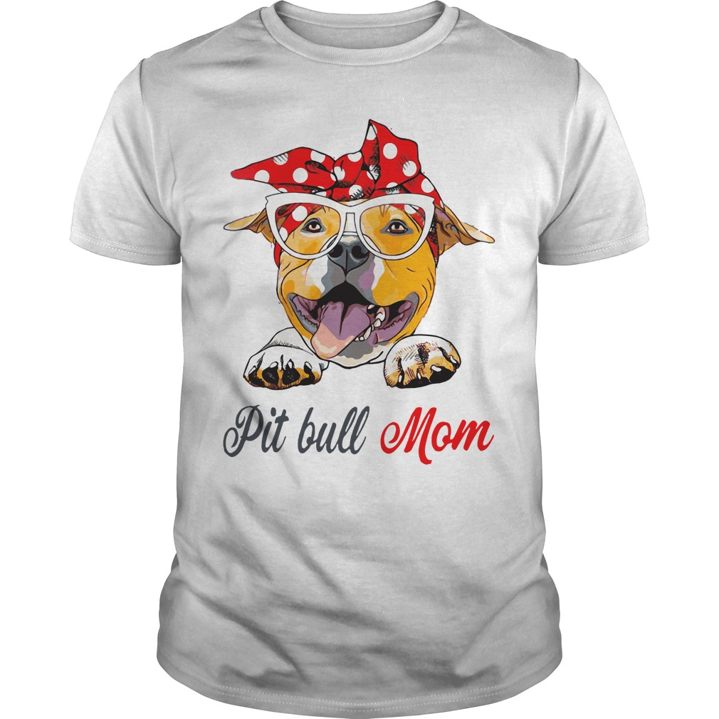 Dog Mom Pit Bull Mom Bow Head Scarf Guys Shirt