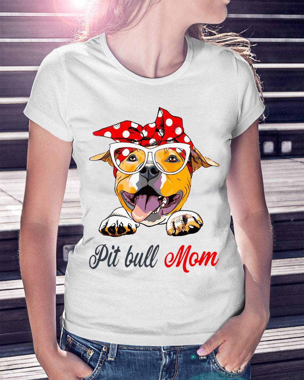 Dog Mom Pit Bull Mom Bow Head Scarf Shirt