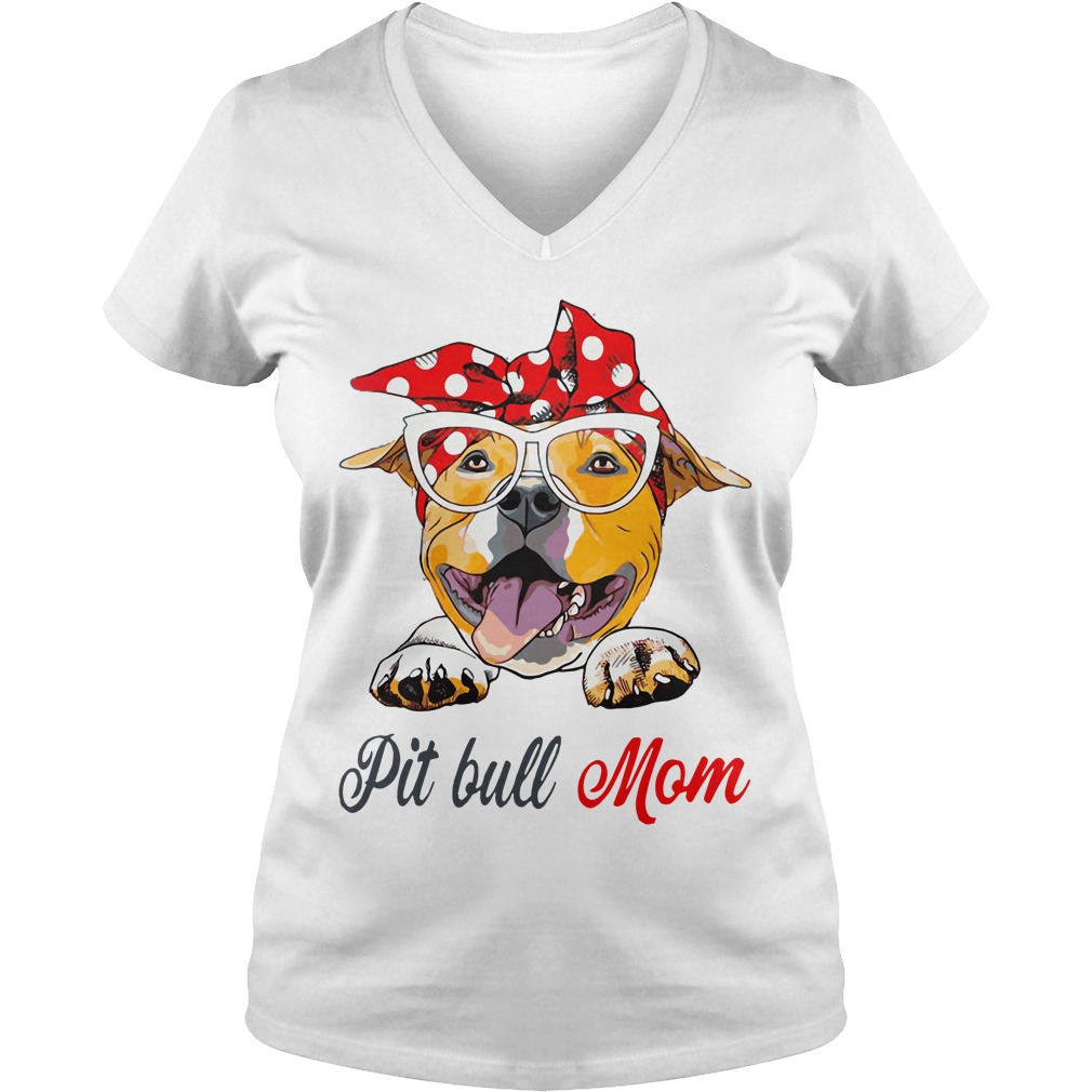 Dog Mom Pit Bull Mom Bow Head Scarf V Neck T Shirt