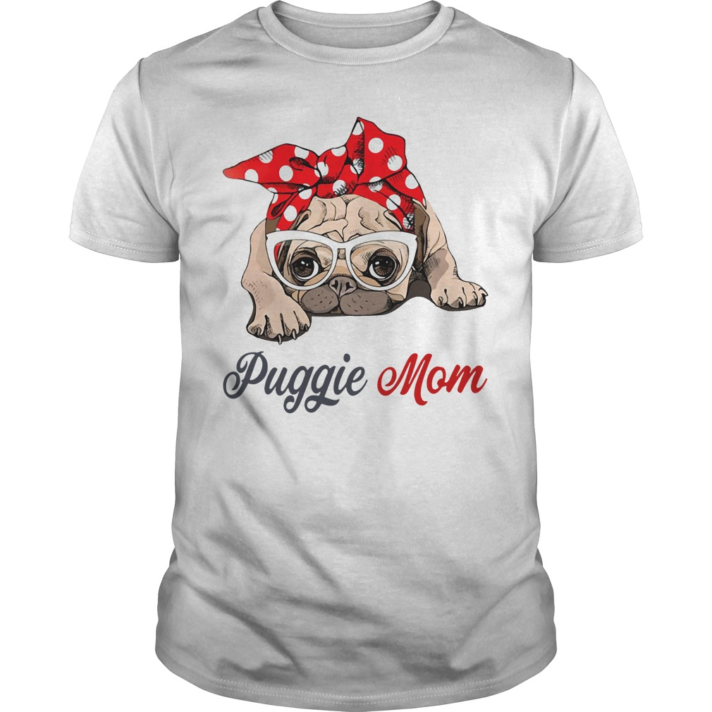 Dog mom: Puggie mom bow head scarf Guys shirt