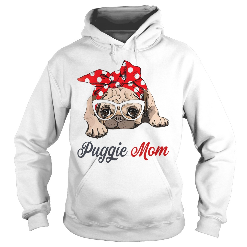 Dog mom: Puggie mom bow head scarf Hoodie