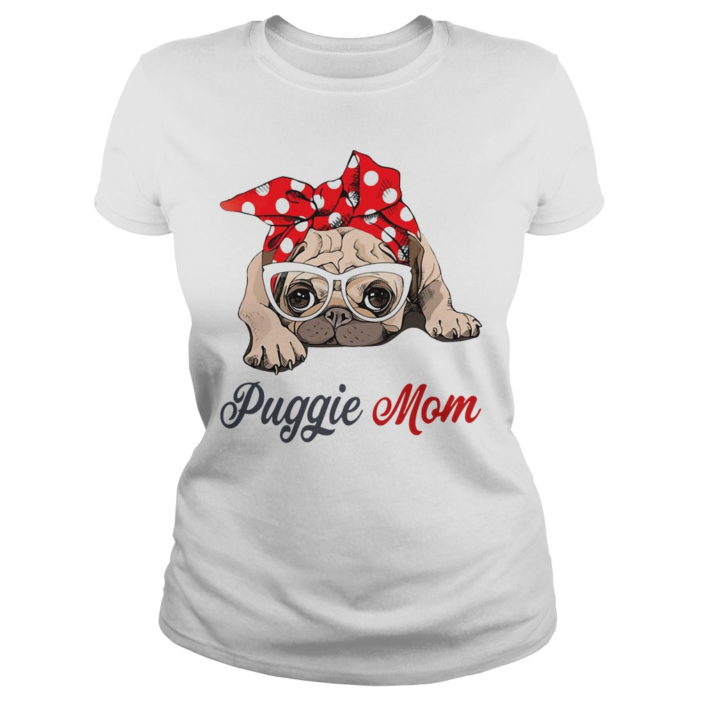 Dog mom: Puggie mom bow head scarf Ladies Tee