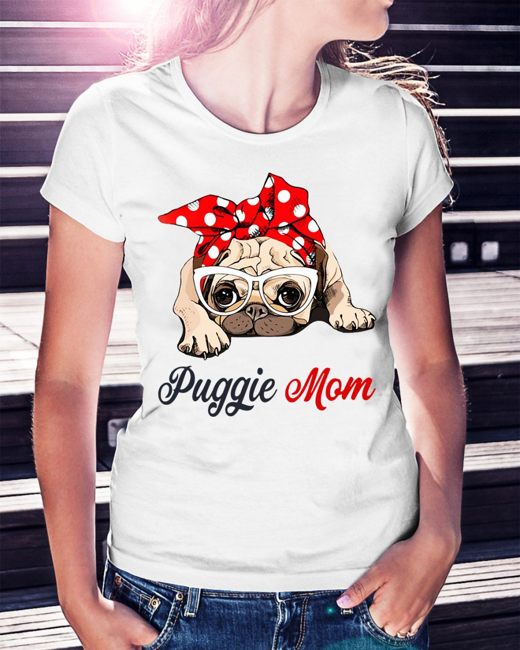 Dog mom: Puggie mom bow head scarf shirt
