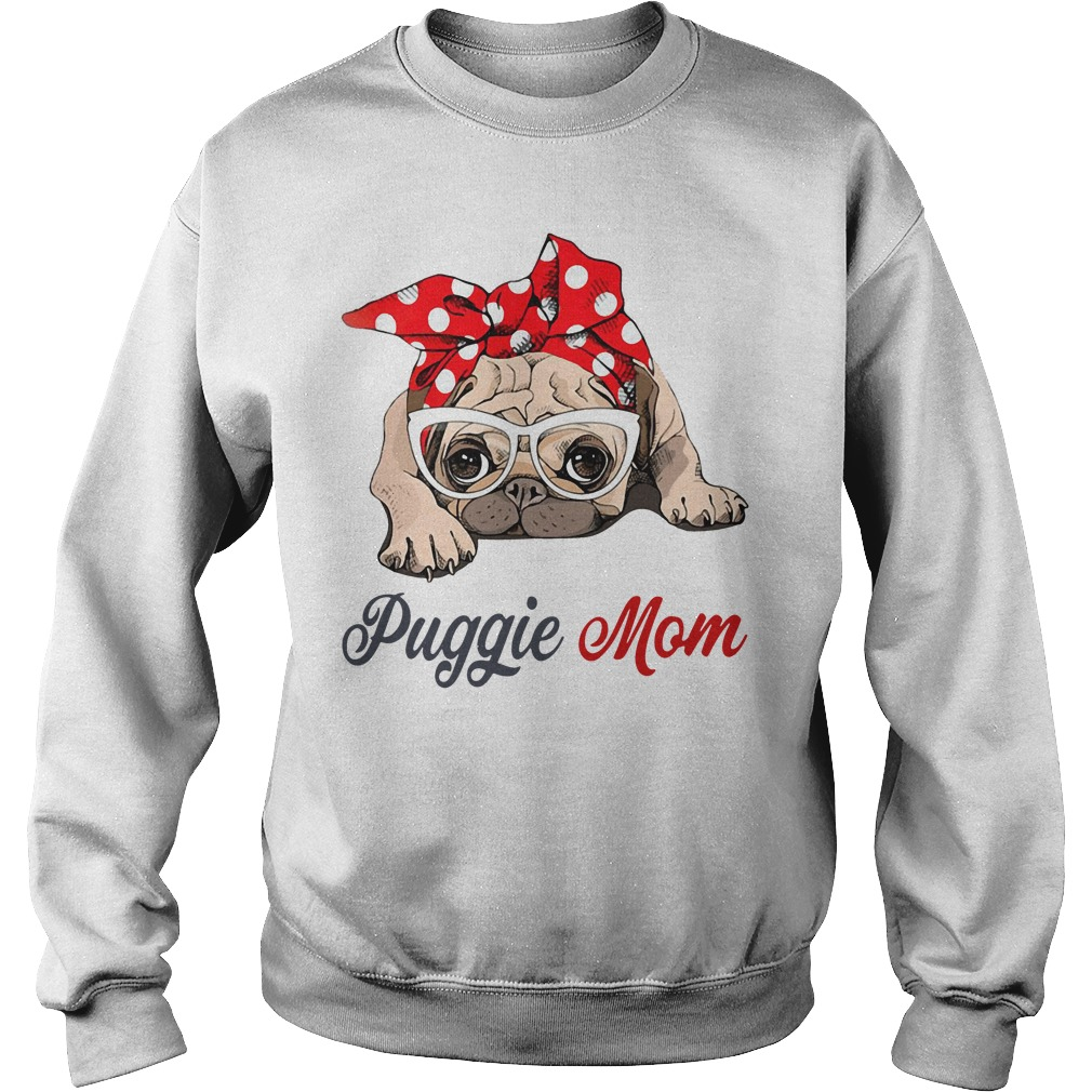 Dog mom: Puggie mom bow head scarf Sweater