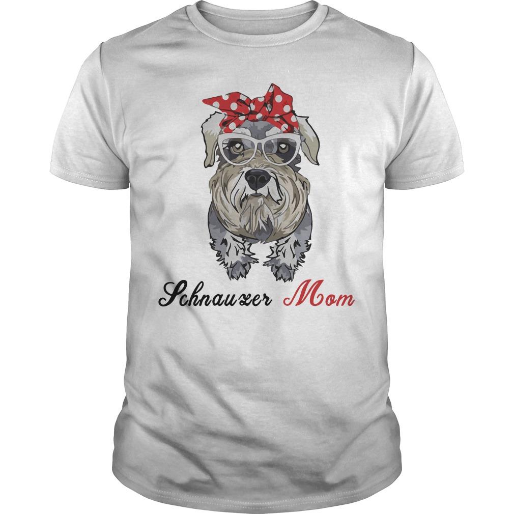Dog Mom Schnauzer Mom Bow Head Scarf Guys Shirt