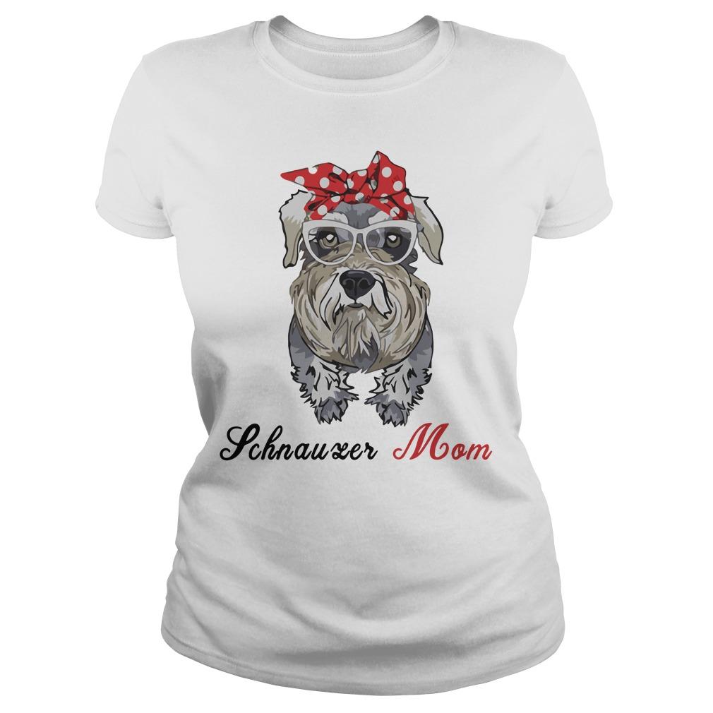 Dog Mom Schnauzer Mom Bow Head Scarf Ladies Tee