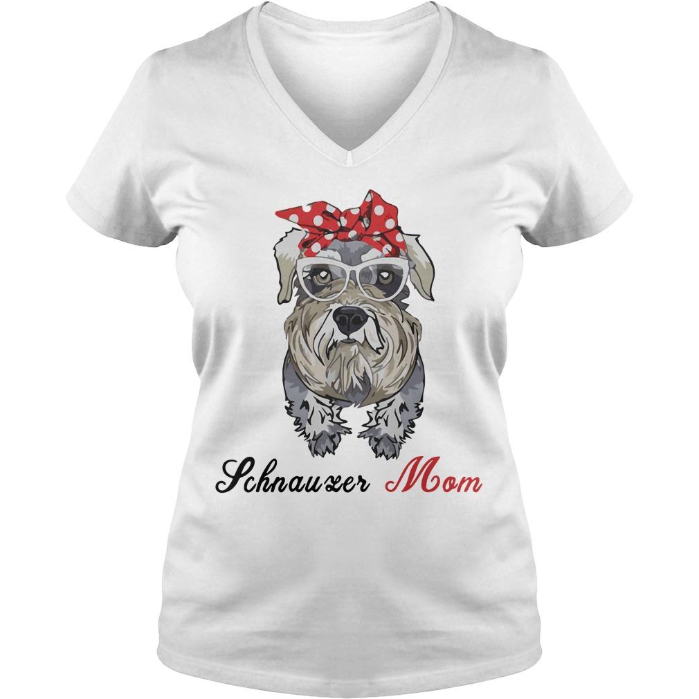 Dog Mom Schnauzer Mom Bow Head Scarf V Neck T Shirt