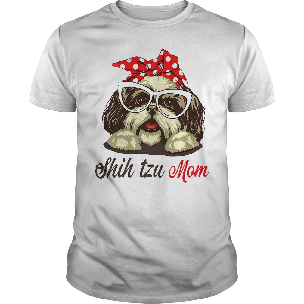 Dog Mom Shih Tzu Mom Bow Head Scarf Guys Shirt