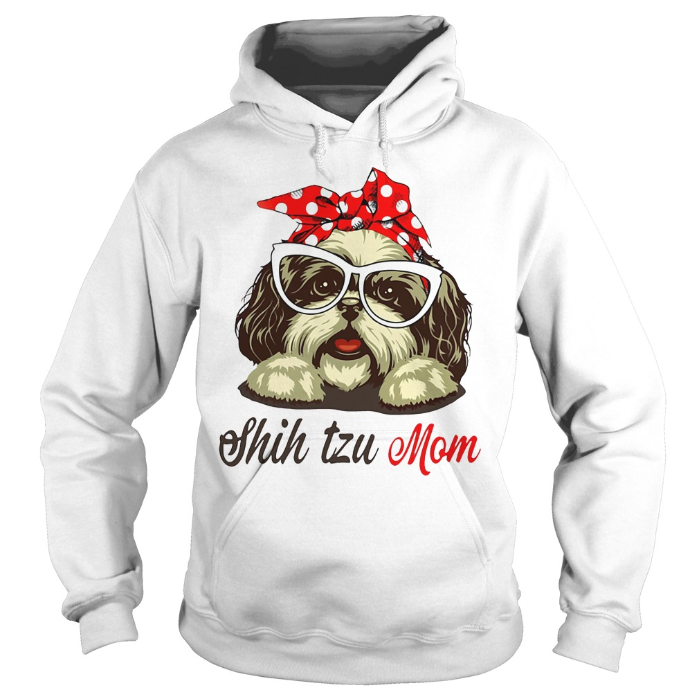 Dog Mom Shih Tzu Mom Bow Head Scarf Hoodie