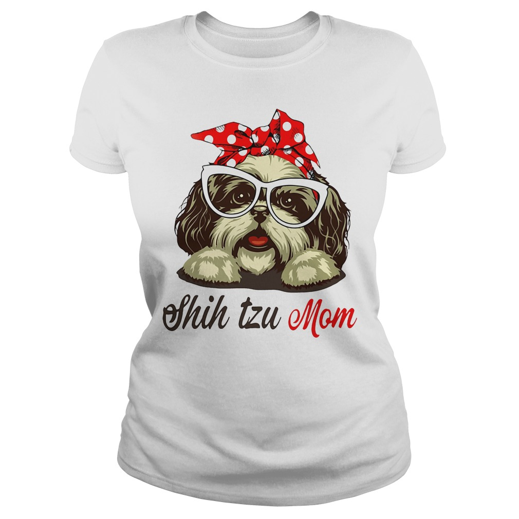 Dog Mom Shih Tzu Mom Bow Head Scarf Ladies Tee