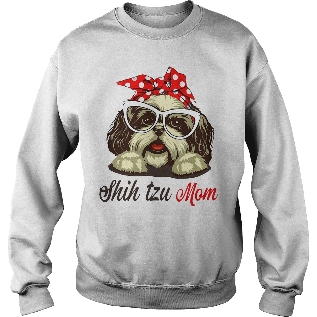 Dog Mom Shih Tzu Mom Bow Head Scarf Sweater