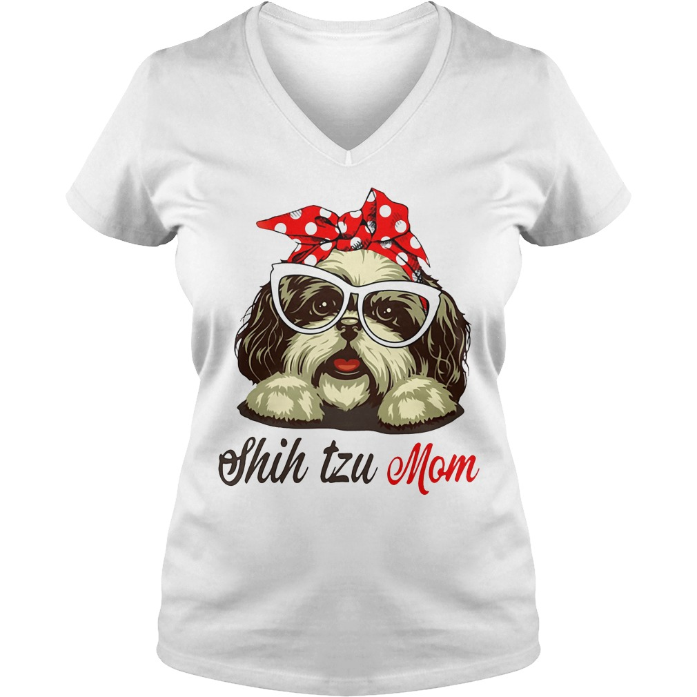 Dog Mom Shih Tzu Mom Bow Head Scarf V Neck T Shirt