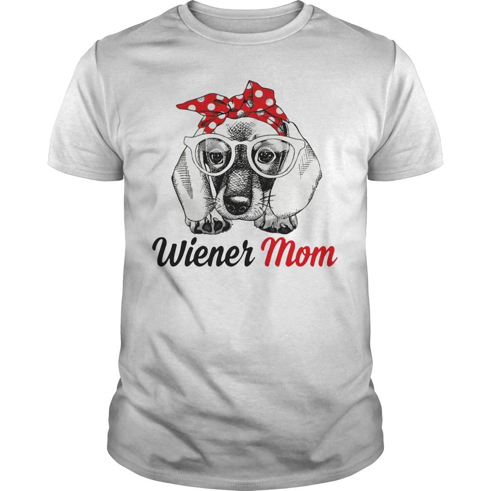 Dog Mom Wiener Mom Bow Head Scarf Guys Shirt