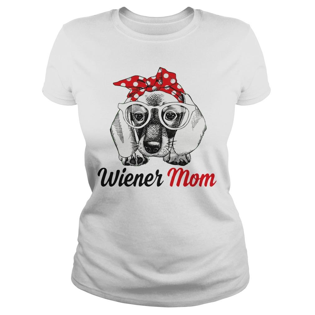 Dog Mom Wiener Mom Bow Head Scarf Ladies Tee