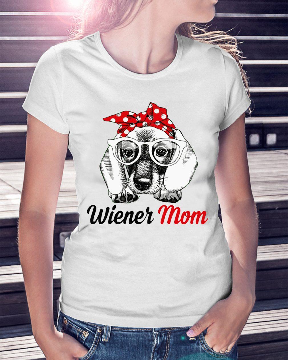 Dog Mom Wiener Mom Bow Head Scarf Shirt