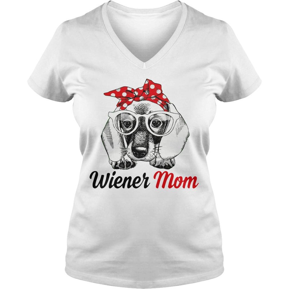 Dog Mom Wiener Mom Bow Head Scarf V Neck T Shirt