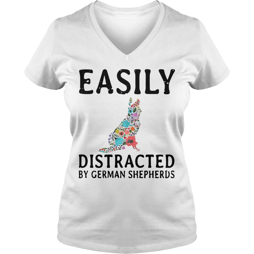 Easily Distracted German Shepherds V Neck T Shirt