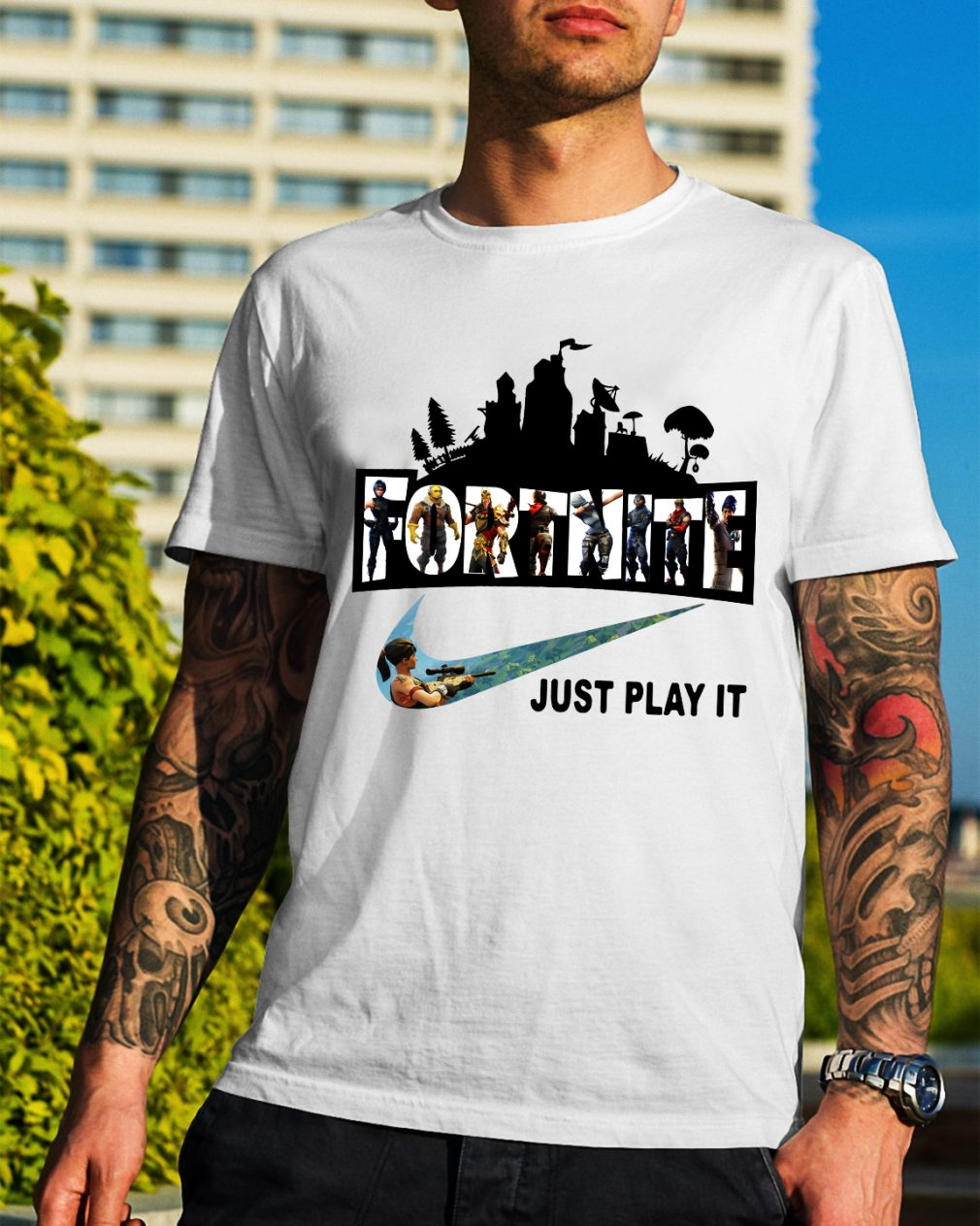 Fortnite Battle Royale and Nike it just play it shirt