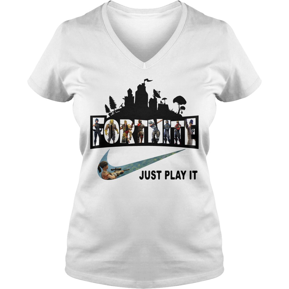 Fortnite Battle Royale And Nike It Just Play It V Neck T Shirt