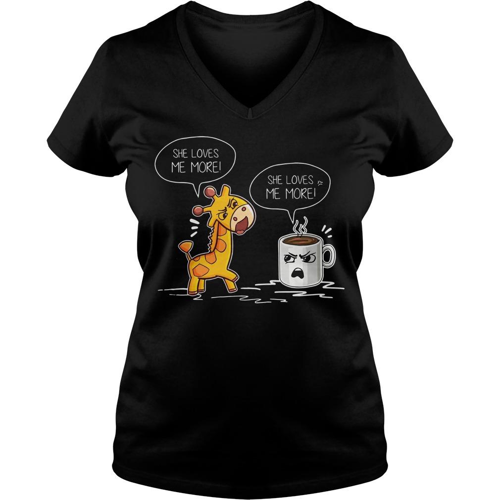 Giraffe Mug Loves V Neck T Shirt