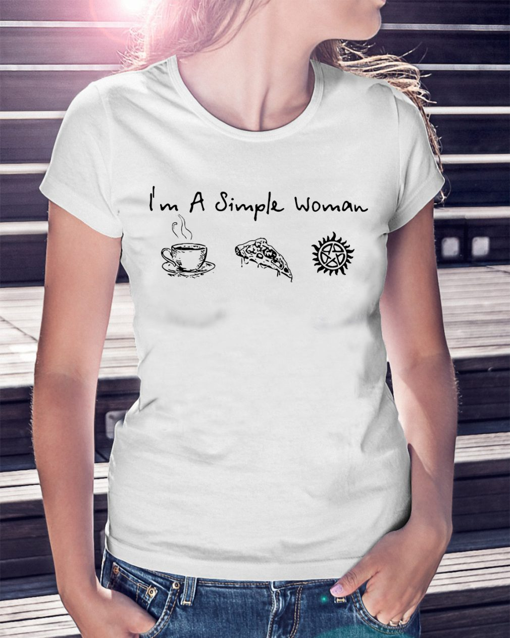 Im Simple Woman Like Coffee Pizza Anti Possession Shirt
