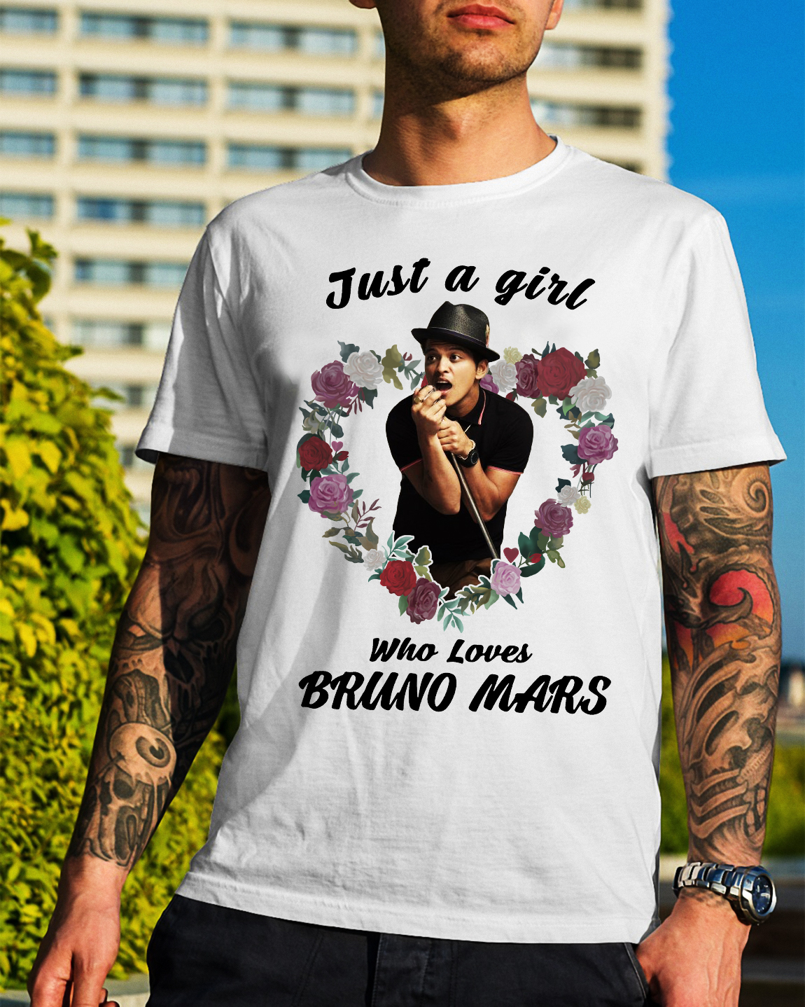 Just a girl who loves Bruno Mars Guys Shirt