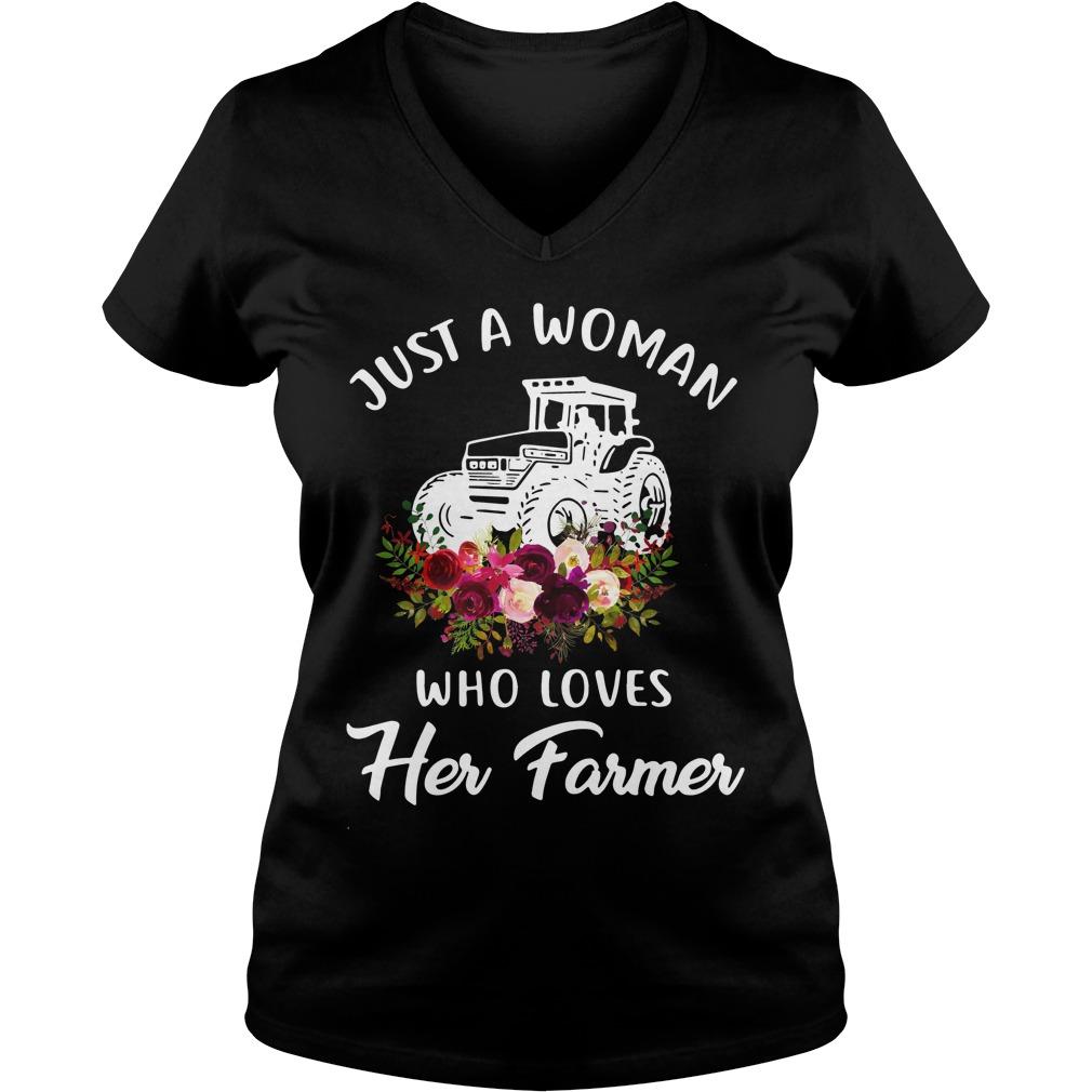 Just Woman Loves Farmer V Neck T Shirt