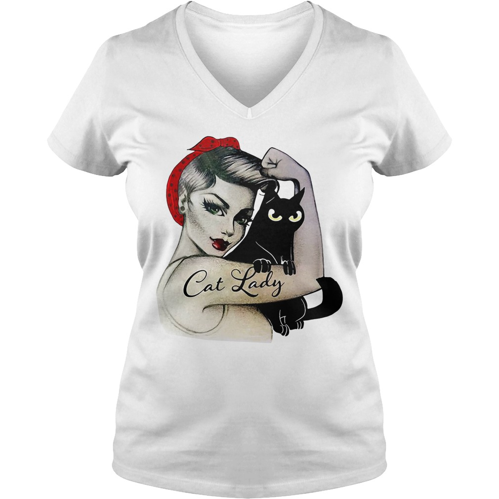 Official Cat lady girl V-neck T-shirt