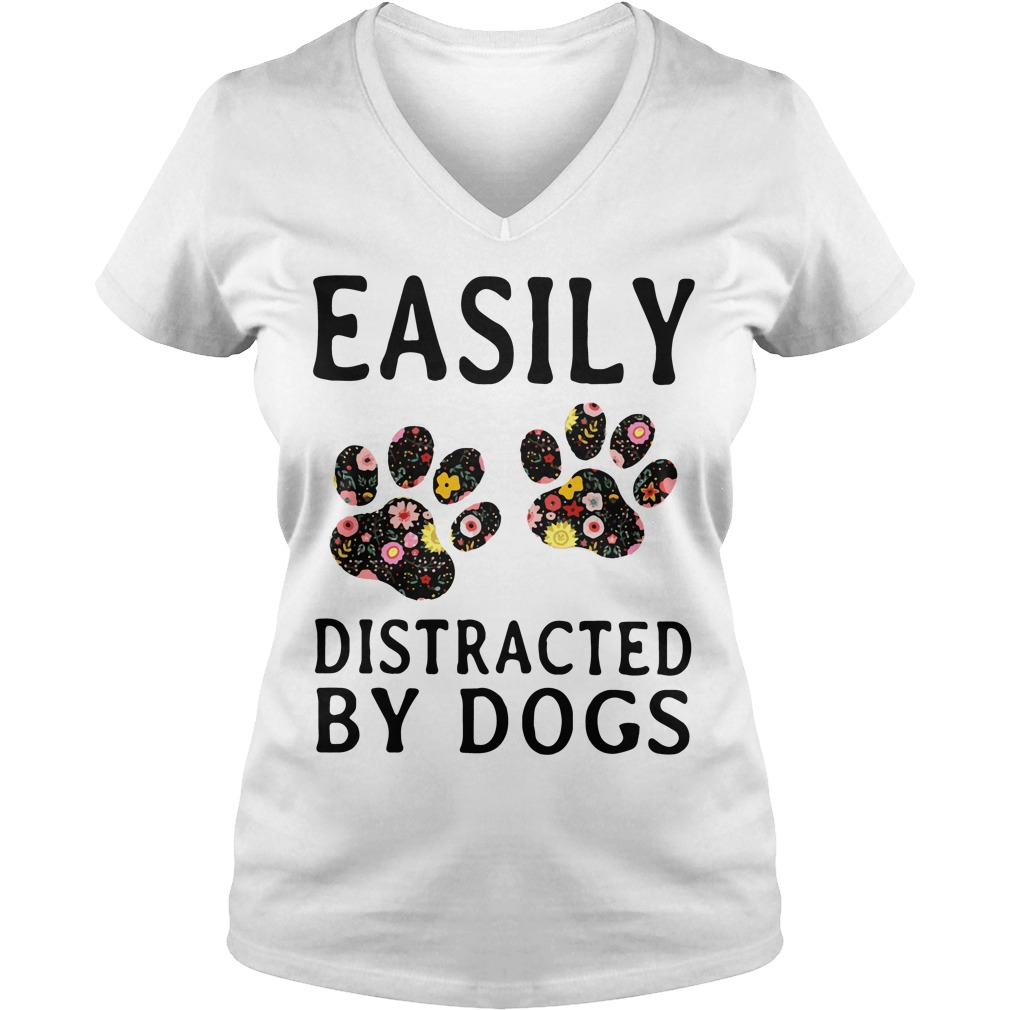 Official Easily Distracted By Dogs V Neck T Shirt
