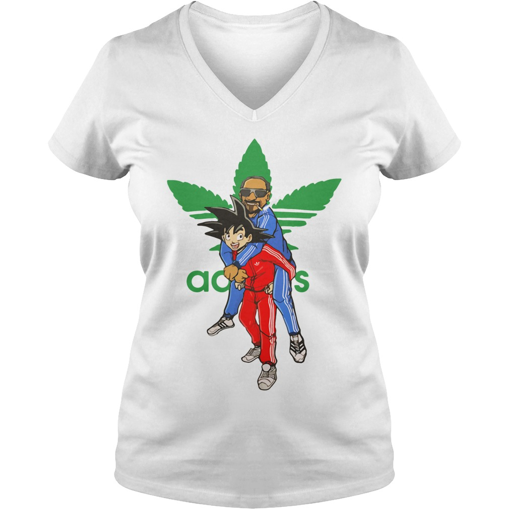Official Goku And Snoop Dogg Adidas Weed V Neck T Shirt