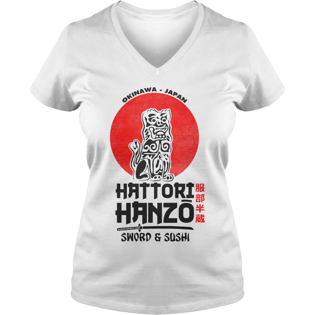Okinawa Japan Hattori Hanzo Sword Sushi V Neck T Shirt