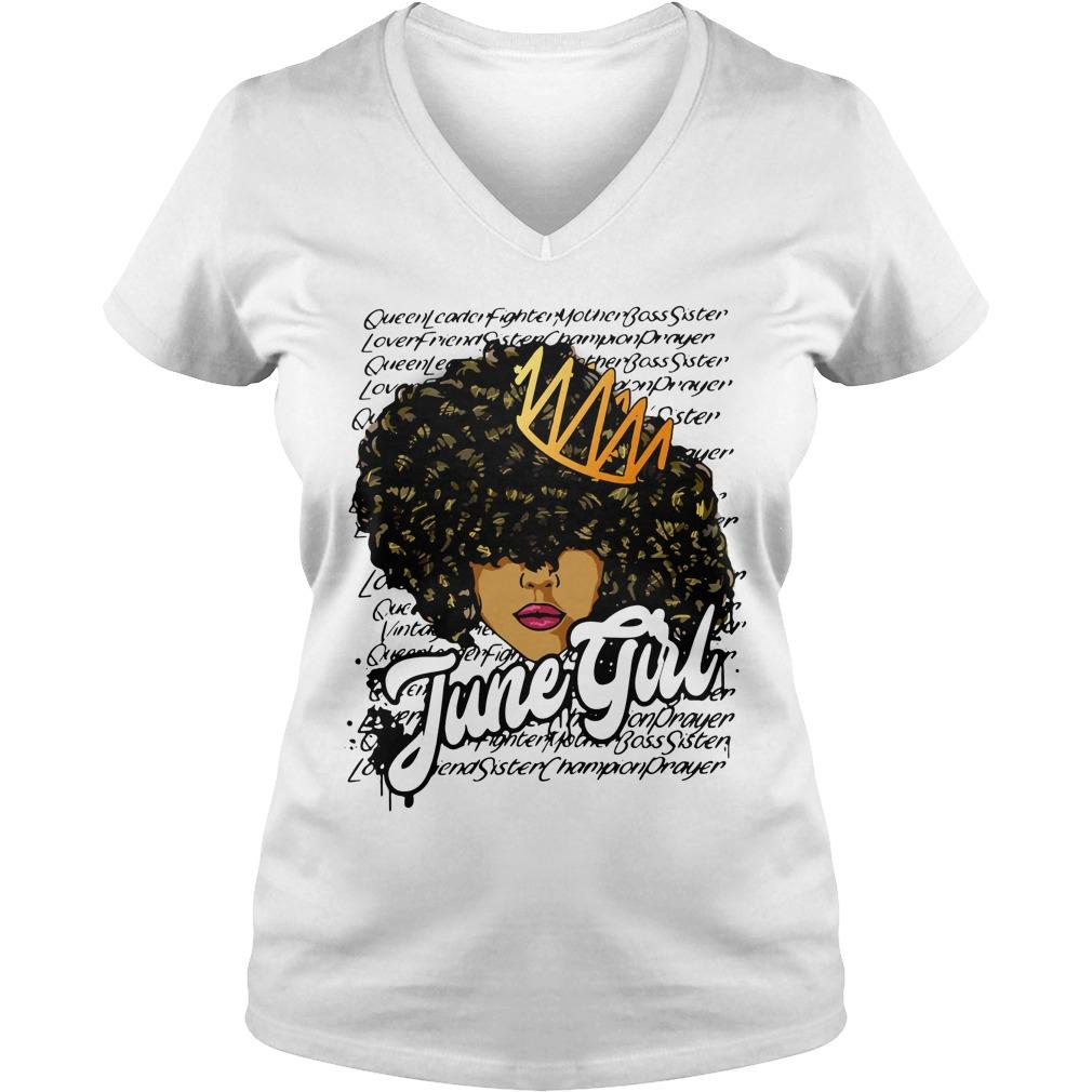 Queen leader fighter mother boss sister June girl V-neck T-shirt