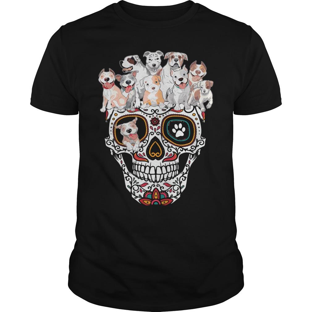 Sugar skull pitbull dog Guys Shirt