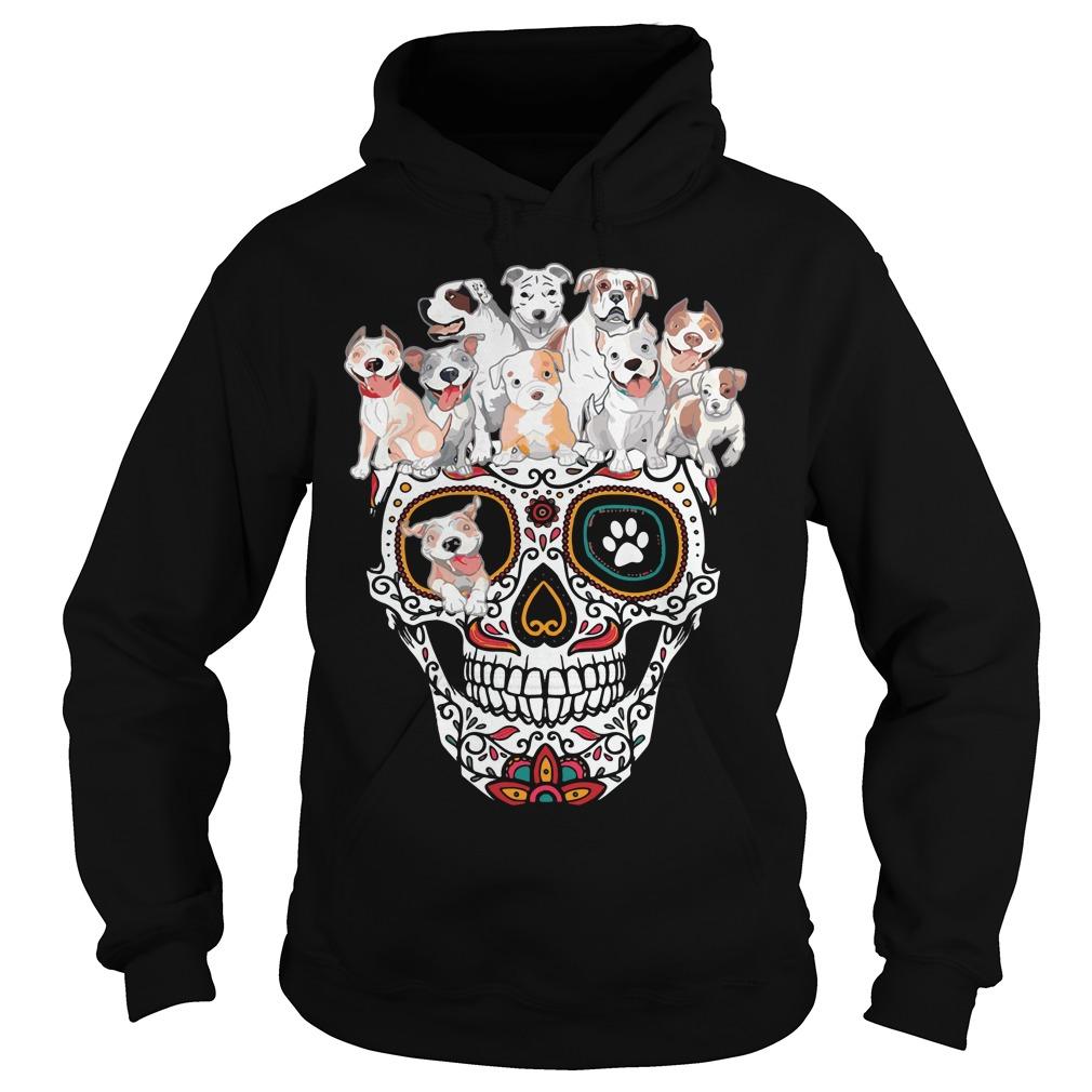Sugar skull pitbull dog Hoodie