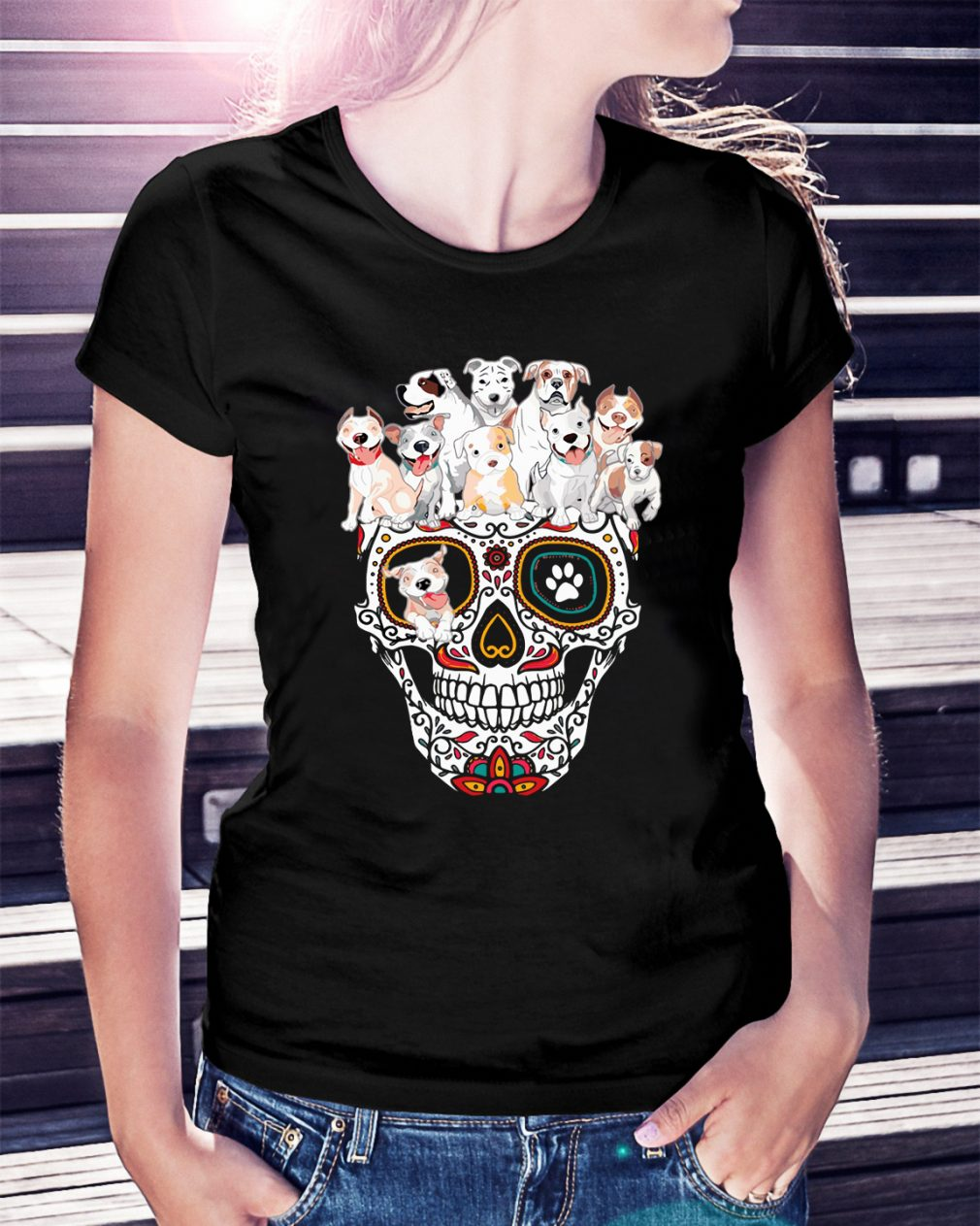 Sugar skull pitbull dog shirt